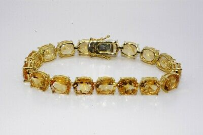£7.78 • Buy $500 71.50ct Natural Oval Cut Yellow Citrine Tennis Bracelet .925 Silver