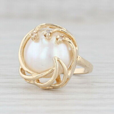 $299.99 • Buy Caged Mabe Pearl Ring Diamond Accents 14k Yellow Gold Size 6.5
