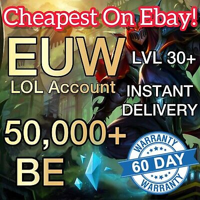 £2.29 • Buy League Of Legends Account EUW LOL Smurf 50,000+ BE IP Level 30 Unranked