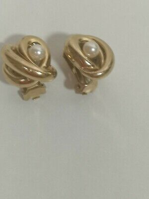 £20 • Buy Vintage Signed Grosse Clip On Earrings Gold Tone Pearl Retro 80s Bold Stylish