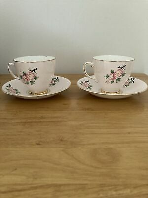 £3.75 • Buy Old Royal Bone China Pretty Pink Floral Tea Cup And Saucer X 2