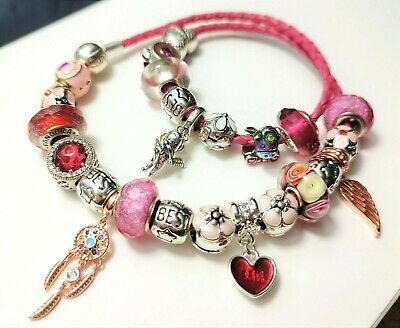 AU75 • Buy Pandora Pink Leather Bracelet With Mixed Charms
