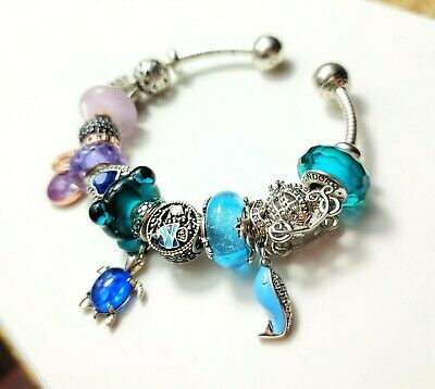 AU85 • Buy Pandora Silver Open Bangle Bracelet With Mixed Charms