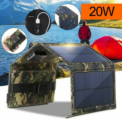 £15.30 • Buy 20W Folding Solar Panel Power Bank USB Battery Charger Outdoor Hiking Camping