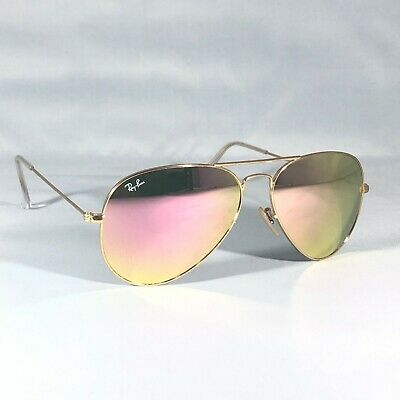 £40.80 • Buy Ray-Ban 3025 Aviator 112/Z2 Sunglasses Pink Mirror Lenses With Gold Frames £149