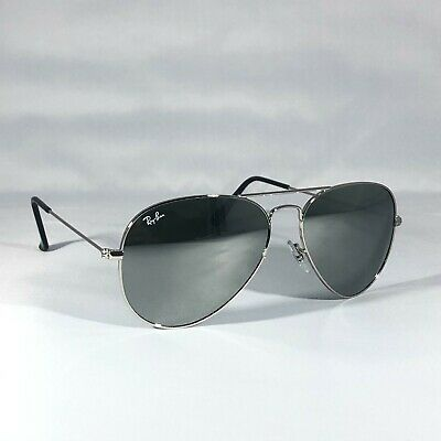 £32 • Buy Ray-Ban 3025 Aviator W3277 Sunglasses Silver Frames With Silver Mirror Lenses