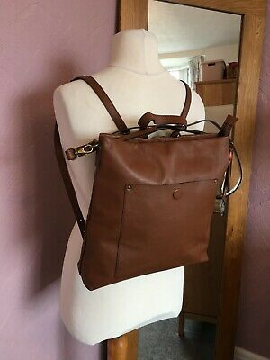 £0.99 • Buy New White Stuff Holly Brown Leather Messenger Ruck Sack Top Handle Bag