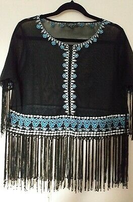 £2 • Buy Topshop Black Top - Ibiza Hippie Peasant Embroidered Festival Top Size 6-8  Vgc