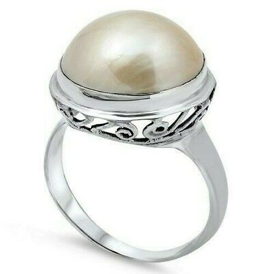 $30.68 • Buy Bali Ring Sterling Silver 925 Genuine White Mabe Pearl Face Height 18 Mm Size 10