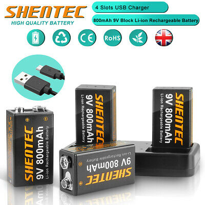 £22.95 • Buy 4 Slot Fast USB Charger + 9 Volt Block 6F22 Lthium Li-ion Rechargeable Battery