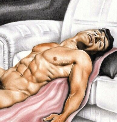 £3.95 • Buy  Taking A Break  Male Nude Erotic Art Print Of Oil Painting Naked Man Picture.