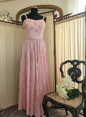 £60 • Buy 1950's Vintage Evening Gown Pink Satin Brocade XS Ballgown Lovely Condition.