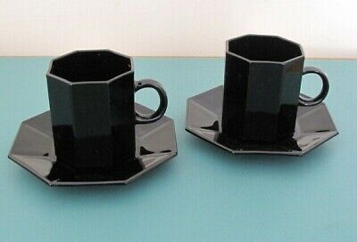 £3.50 • Buy French  Black Glass Tea Coffee Cups And Saucers (pair)