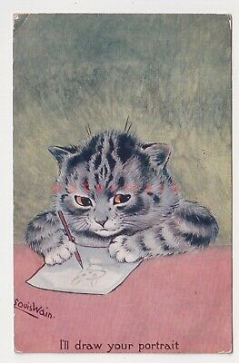 £20 • Buy LOUIS WAIN  I'LL DRAW YOUR PORTRAIT  ANGRY CAT C. W. Faulkener POSTCARD 1912