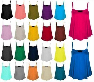 £2.99 • Buy Womens Cami Swing Vest Top Ladies Sleeveless Strappy Flared Top Summer Camisole