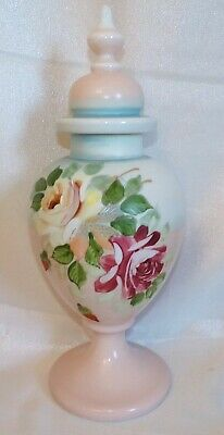 £29.99 • Buy C19th Large Victorian Hand Painted Pink Opaline Glass Lidded Vase Urn Roses 16