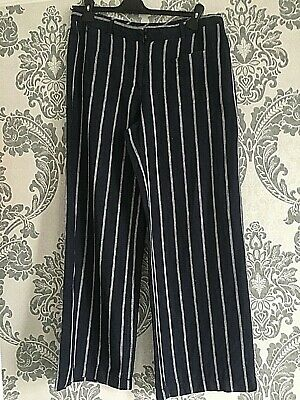 £9.99 • Buy Monsoon Linen Trousers Palazzo Pants Size 14 Navy With White Stripe
