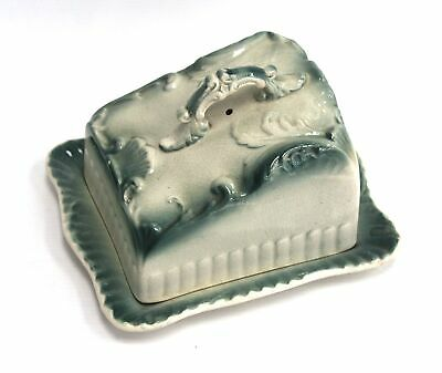 £4.49 • Buy Vintage BUTTER CHEESE DISH Large Ornate TURQUOISE CREAM Colour Unusual - W35