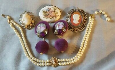 $ CDN13.07 • Buy Lot Vintage Jewelry Cameo Style Necklace Brooch Choker Necklace Earrings 5pc