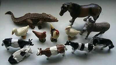 £9.95 • Buy Schleich And Britains Plastic Animals Joblot Inc Alligator Donkey Cows Used