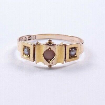 £190 • Buy Coral And Pearl Victorian 15 Carat Gold Ring 1881