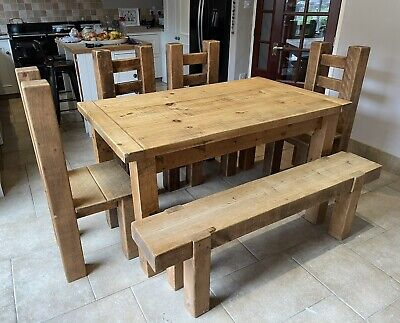 £295 • Buy Wooden Dining Table, 4 Chairs And Bench (rustic / Farm Kitchen Look)