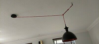 £7.20 • Buy Modern Ceiling Light In Black With Red Inside And Long Red Cable.