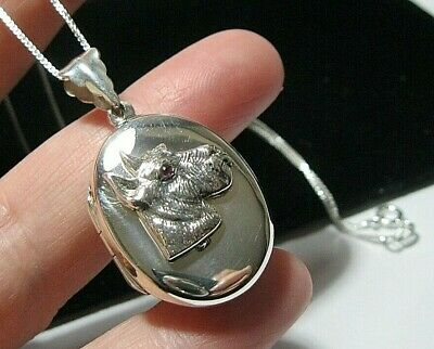 £58 • Buy Sterling Silver DOG LOCKET Pendant New Victorian Style With Chain Necklace Large