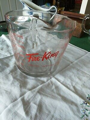 £3.99 • Buy A Clear Glass Measuring Jug  With Fire King In Red Measurements  Marked Anchor