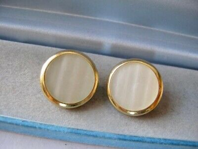 £2.40 • Buy Vintage 9ct Gold Plated YSL Yves Saint Laurent Clip On Earrings Mother Of Pearl