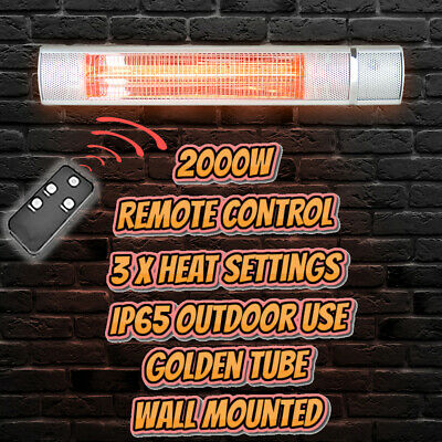 £74.99 • Buy 2000W Wall Mounted Infrared Heater With Remote Control Outdoor Garden Patio