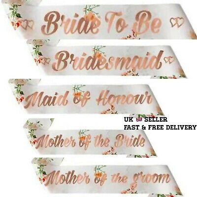 £3.49 • Buy Team Bride To Be Hen Party Rose Gold Pink Floral Sash Hen Party Night Sashes