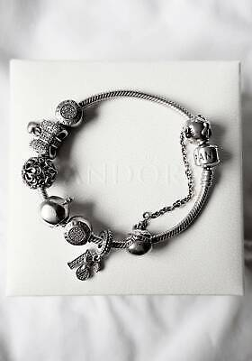 AU190 • Buy Authentic Pandora Bracelet With Charms & Safety Chain - Dainty Bow/Heart Pave