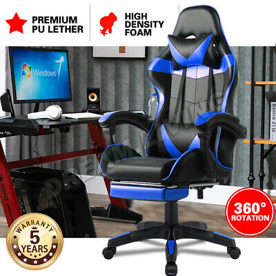 AU89 • Buy Gaming Office Chair Executive Tilt Computer Chairs Seating Racing Recliner Blue