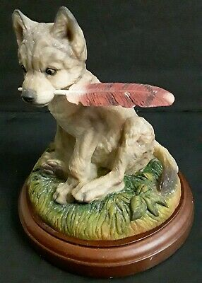 $38 • Buy Mill Creek Studios 'Misbehavin' Wolf Pup With Feather In Mouth Sculpture 42010