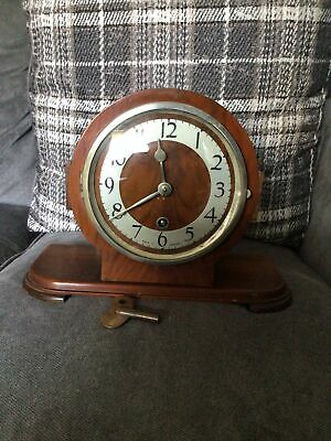 £40 • Buy Vintage Art Deco Wind Up Wooden Mantle Clock In Working Order - Made In England
