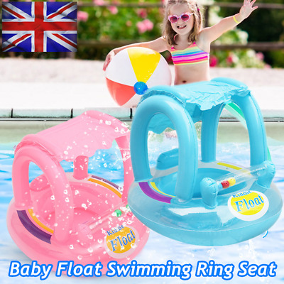 £8.79 • Buy Inflatable Pool Swimming Ring Floating Baby Kids Seat Beach Boat W/Sunshade