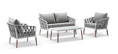 AU2490 • Buy NEW Silas Outdoor Ivory Rope Lounge Setting With Coffee Table   Patio Dining Set