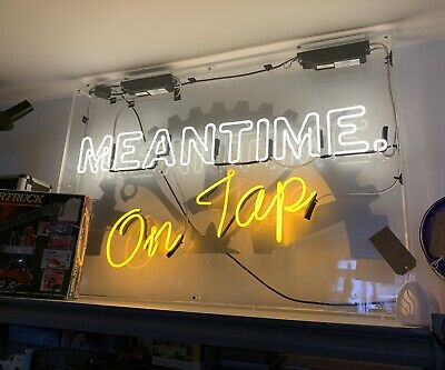 """£999.99 • Buy Large Neon Sign 45"""" X 33"""" Meantime On Top In Perpex Box"""