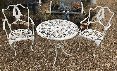 £150 • Buy White Cast Aluminium Bistro Garden Table And Chairs Vintage Furniture