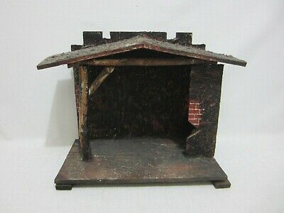 £31.87 • Buy Antique Barn Stall Stable Nativity Christmas Wood W Painted Bricks Germany Label