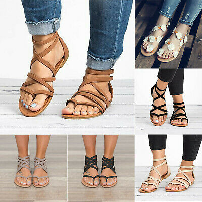 £17.59 • Buy Womens Gladiator Flower Sandals Ankle Strap Flats Flip Flops Beach Shoes Casual,