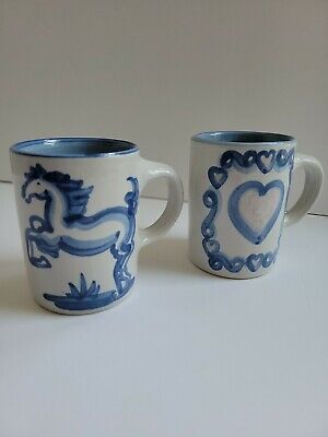$28.50 • Buy MA Hadley HandPainted Blue Horse And Pink Heart Mugs