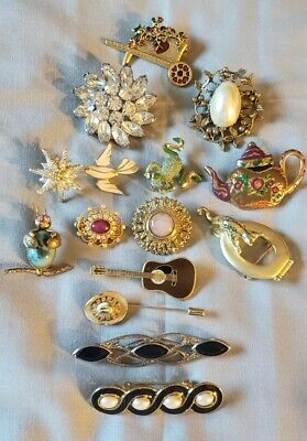 $ CDN12.44 • Buy 15 Vintage - Now Pin Brooch Signed AJC Weiss Danecraft + Jelly Belly Lot