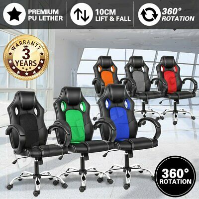 AU88.90 • Buy Gaming Chair Office Executive Computer Chairs 360°Swivel Racing Recliner