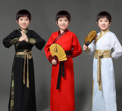 £15.20 • Buy Chinese Tang Dress Ancient Kungfu Costume Party Cosply Kids Boys Swordsman Dress