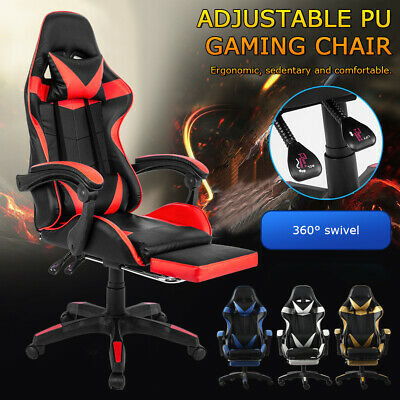 AU99.99 • Buy Executive Racing Gaming Chair Footrest Computer Office Swivel Leather Adjustable