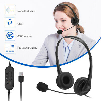 £5.52 • Buy USB Computer Headset Wired Over Ear Headphones For Call Center PC Laptop Skype