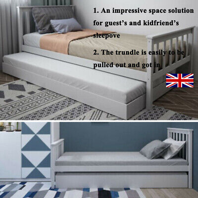 £19.99 • Buy 3ft Single Day Bed Sofa Bed Guest Bed Frame With Pull Out Trundle Grey/White