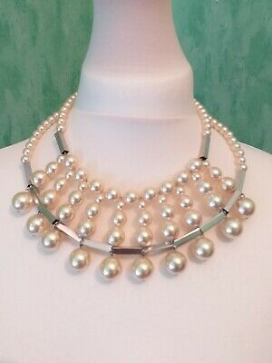 £5 • Buy Stunning Cream Pearl & Silver Large Beaded Statement Modernist Bib Necklace
